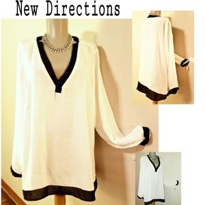 New Directions white/blk vneck blouse. Sz XL